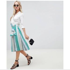 ASOS | OASIS STRIPED FAUX WRAP MIDI SKIRT